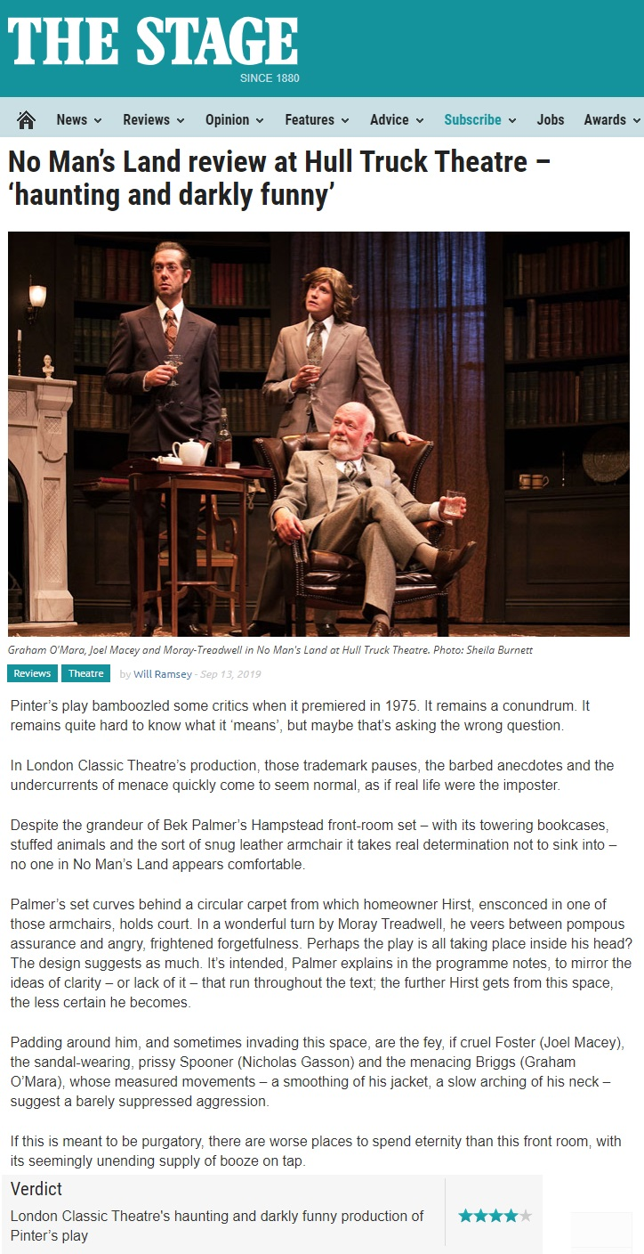 The Stage review for No Man's Land