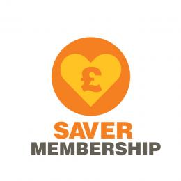 Saver membership logo of a pound sign on a heart