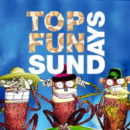 Top Fun Sundays logo with three wise monkeys